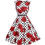 Lauzal 50s Retro Vintage Rockabilly Kleid Cocktailkleid Knielang Blumenprint Partykleid mit Gürtel