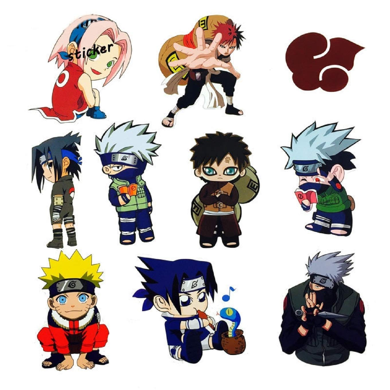 Amazon com 10pcs lot japan anime cartoon naruto stickers for computer ps4 phone laptop tv fridge bicycle waterproof decal sticker computers accessories