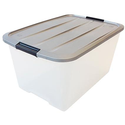 IRIS Recuadro 45 litros, Caja de plástico Transparente, contenedor y Manejar, immagazzinoggio plástico