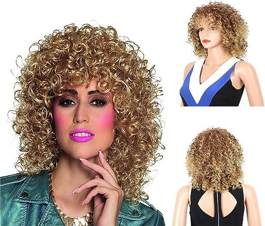 NIUJF Peluca Señoras Mujer Carnaval Halloween Blonde Rizado Corto ...