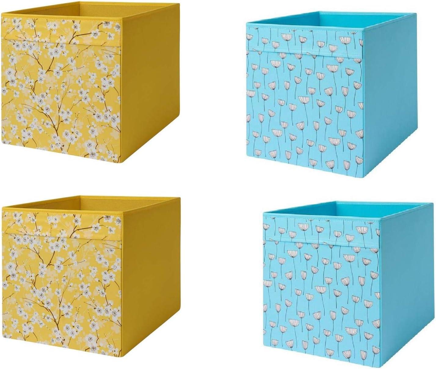 IKEA Drona Box - Caja para drona (2 unidades), diseño floral, color azul y amarillo: Amazon.es: Hogar