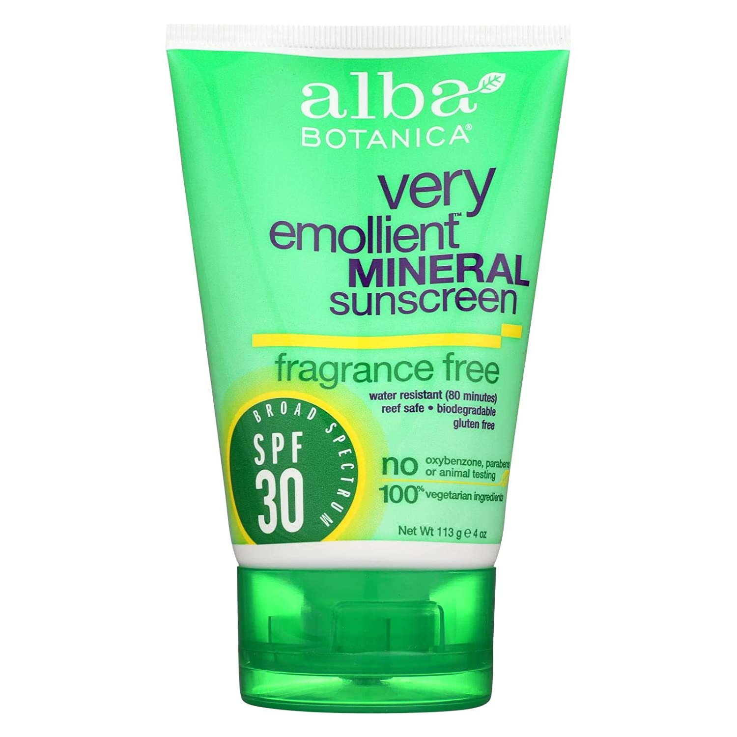 Alba Botanica Sensitive Mineral Sunscreen Fragrance Free, SPF 30 4 oz