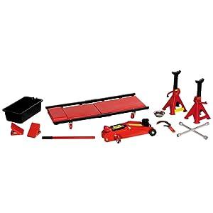 Car Plus COMB002 Kit de cric hydraulique avec mallette, 2 chandelles, 2 cales et outils