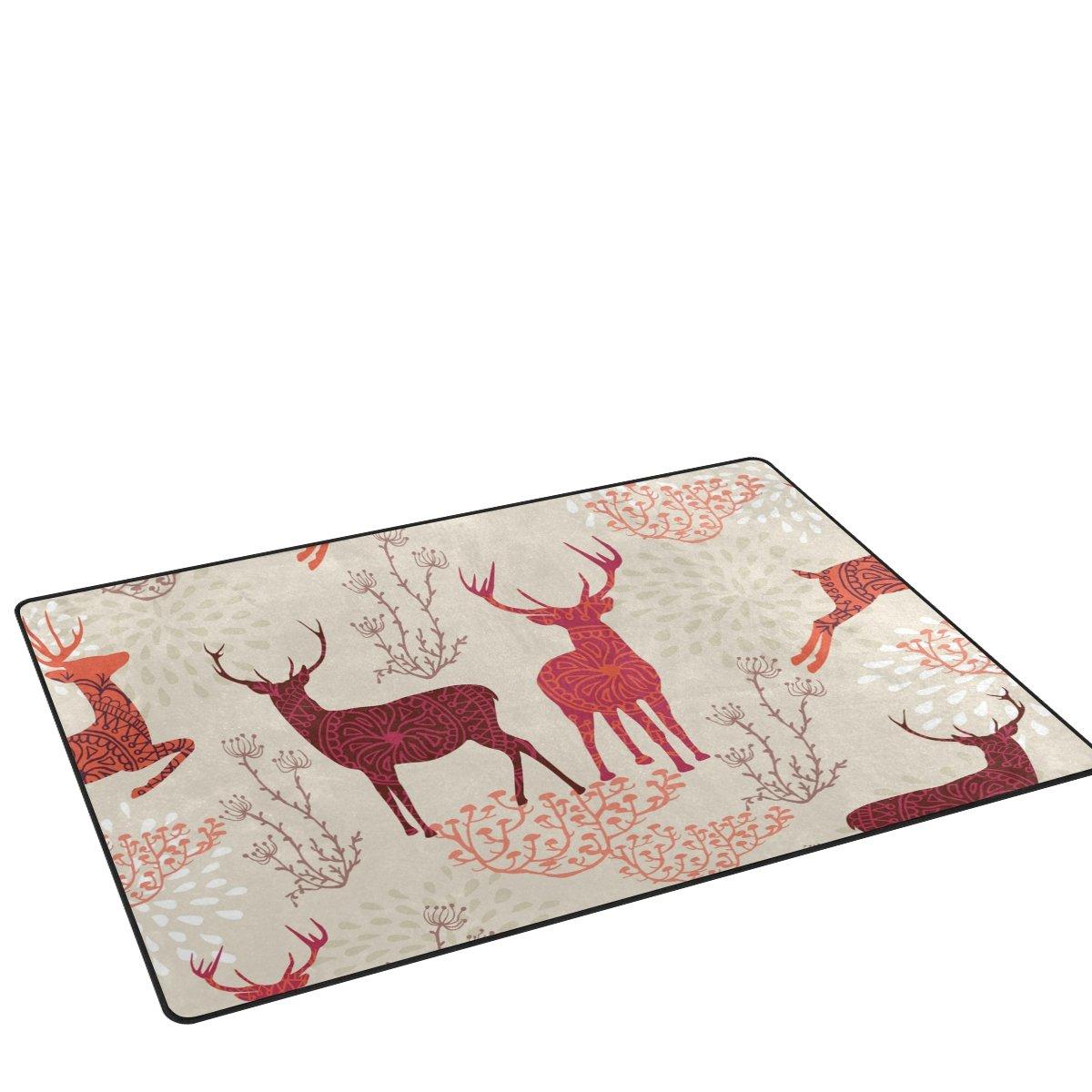 deyyaクリスマスSika Deerノンスリップエリアラグ絨毯リビングルーム装飾用31 x 20インチ用 31 x 20 inch dtfh-001 31 x 20 inch  B077P2FR4L