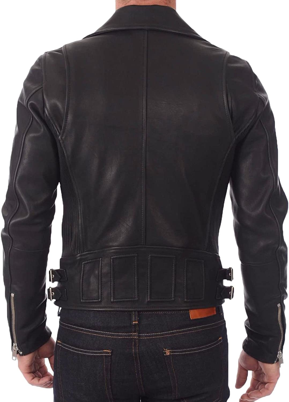 Mens Leather Jacket Slim Fit Biker Motorcycle Genuine Lambskin Jacket Coat T1423