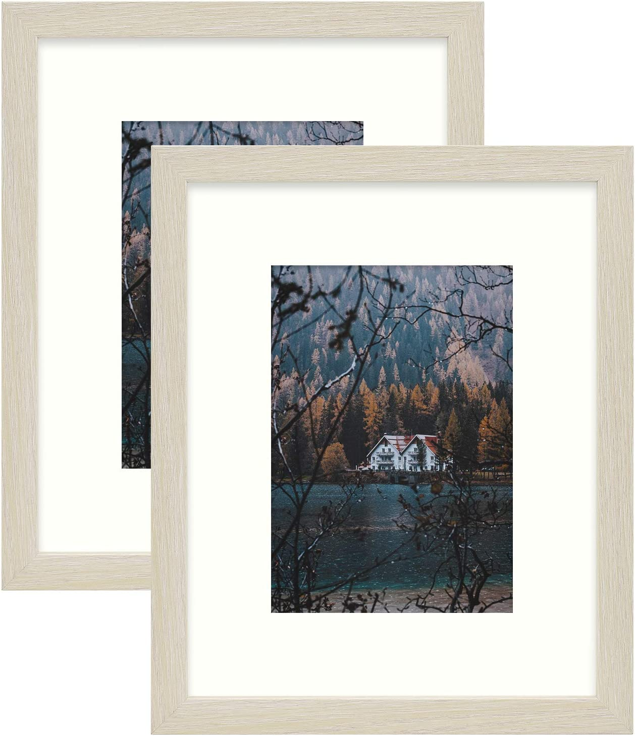 Frametory, Frame with Ivory Mat for Photo, Smooth Wood Grain Finish Easel Stand, Sawtooth Hangers, Real Glass - Landscape/Portrait, Wall/Table Display (Rustic Beige, 8x10 Frame for 5x7 Photo, 2-Pack)