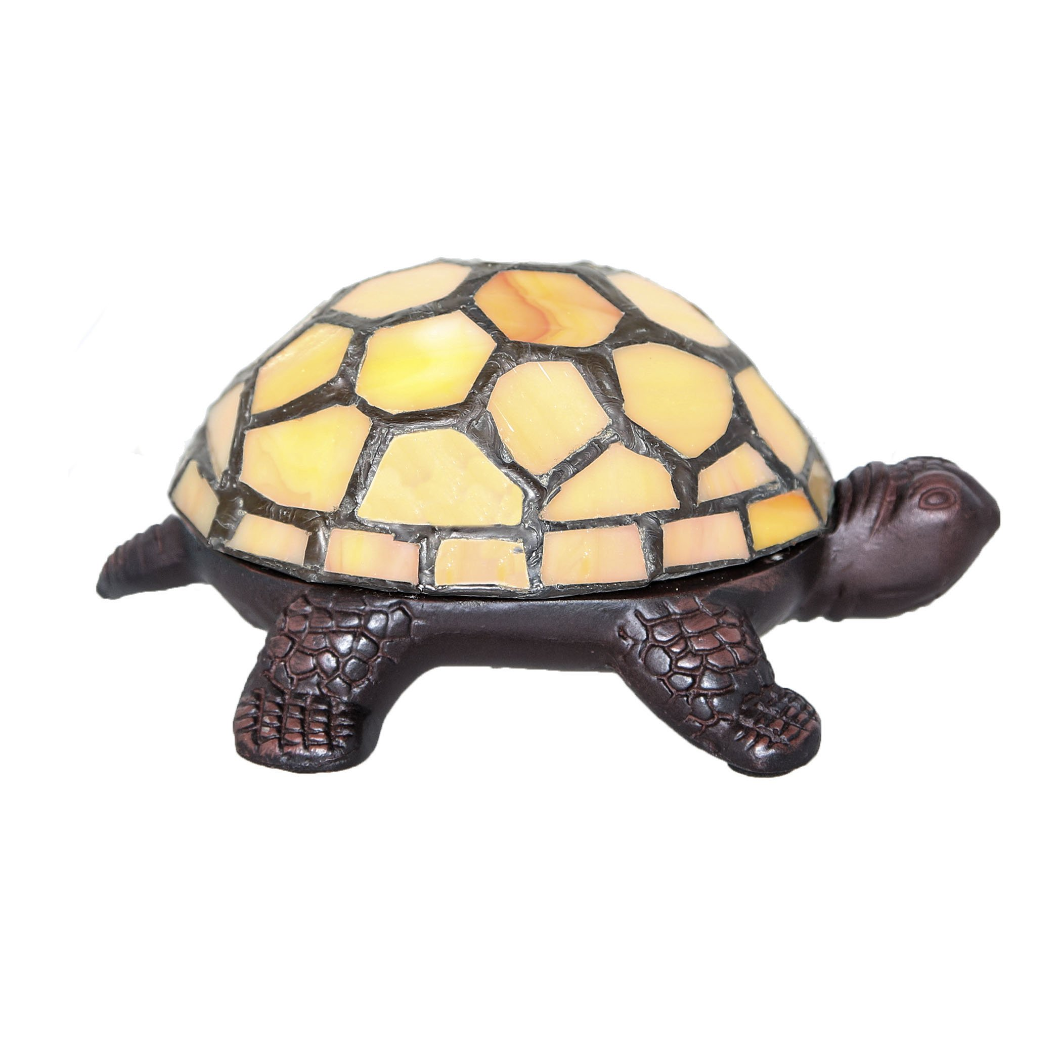 2.5'' Stained Glass LED Cordless Turtle Accent Lamp - Yellow