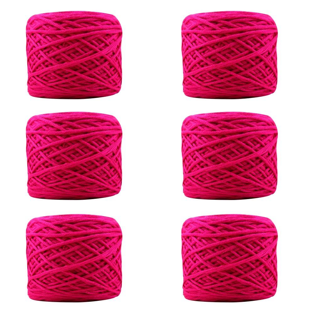 pinkred 6 Pack Soft Yarn Chunky Cotton Milk Yarn for Crochet Knitting,Pink