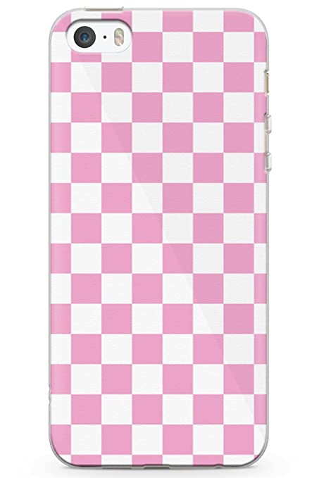 on sale 9167c 363db Case Warehouse iPhone 5 Case, iPhone 5s, iPhone SE Pink Checkered Phone  Case Clear Ultra Thin Lightweight Gel Silicon TPU Protective Cover | Plaid  ...
