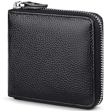 Huztencor Wallets for Men Leather RFID Blocking Wallet Purse Bifold Slim Zipper  Wallet Men Zip Around 7d395803b042