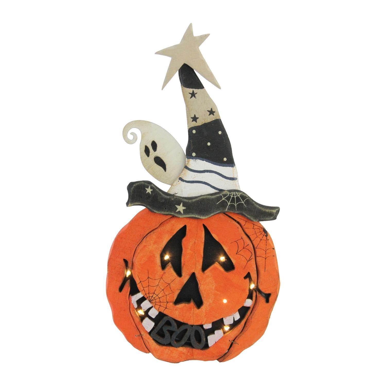 Northlight Battery Operated Pumpkin Halloween Decoration, 13'', Black