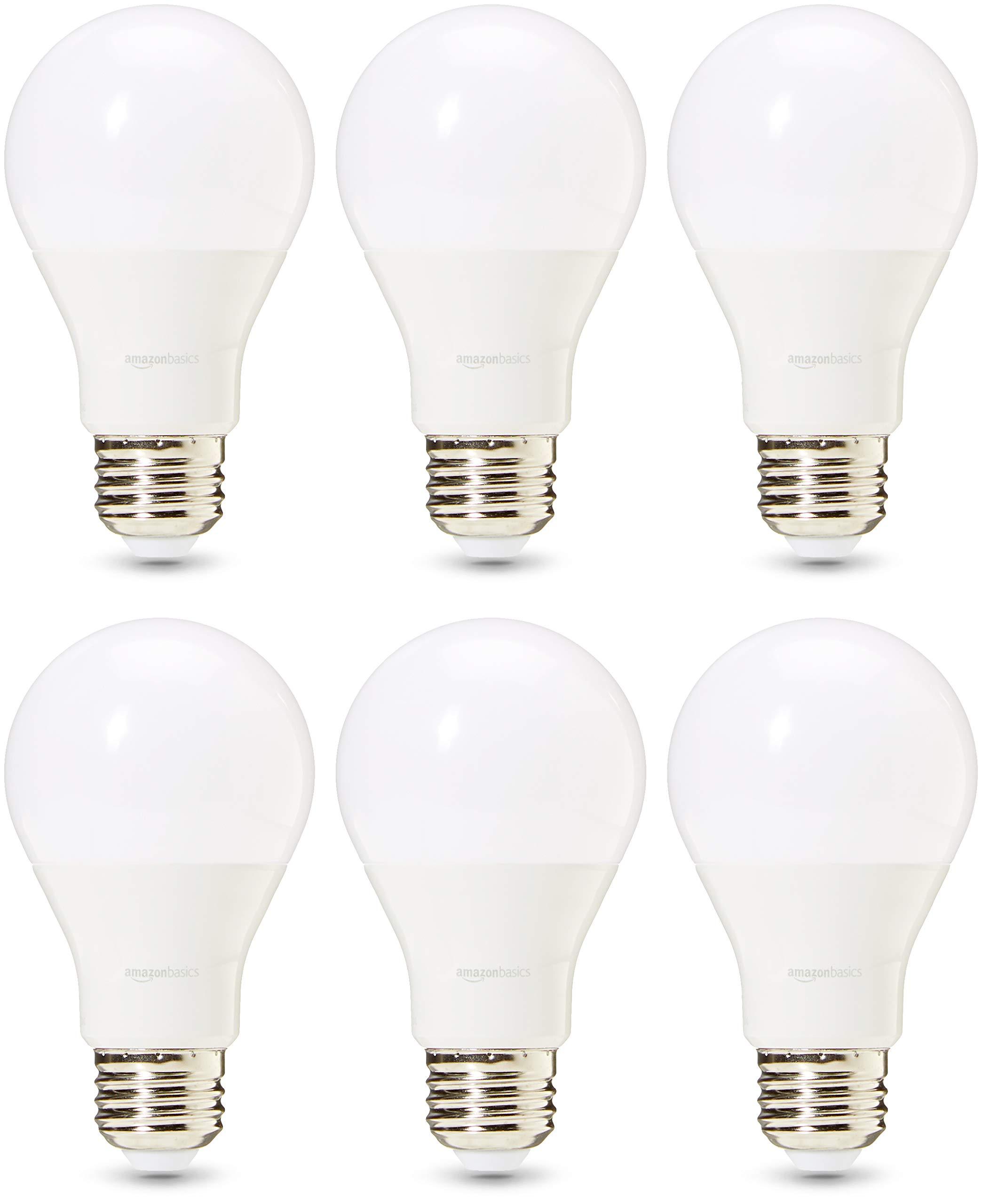 AmazonBasics Commercial Grade LED Light Bulb   40-Watt Equivalent, A19, Daylight, Dimmable, 6-Pack