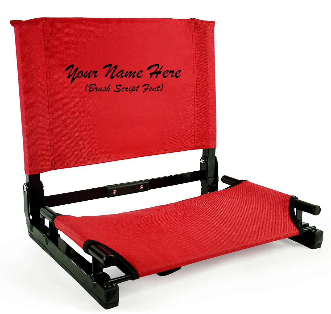 Personalized刺繍新しいStadium椅子Gamechanger Bleacher Seat with Optional Arms B01MQHCLV7 レッド レッド