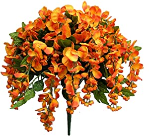Admired By Nature 18 Branches of Long Hanging Artificial Wisteria Flower Bush, Pumpkin