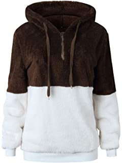 5a321d14eded52 TEMOFON Women s Long Sleeve Zipper Casual Hooded Sweatshirt Sherpa Pullover  Winter Outwear Jackets Coats Sweaters S
