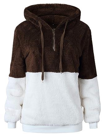 c43e9d167b1 TEMOFON Women s Long Sleeve Zipper Casual Hooded Sweatshirt Sherpa Pullover  Winter Outwear Jackets Coats Sweaters Coffee