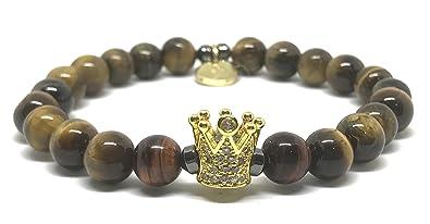 7643bc5863c5 EREMITI JEWELS pulsera hombre mujer Unisex Bracelet Piedra Natural Ojo de Tigre  Acero Elástico Corona Crown Idea regalo dorado  Amazon.es  Joyería