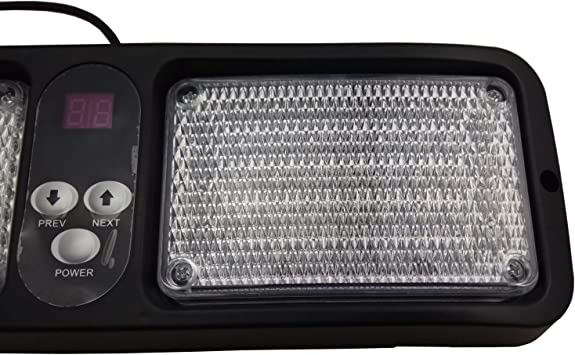 Red Wecade 86 LED Sunshield Strobe Light Super Bright Flashing Emergency Warning Lights for Visor Maximum Visibility with 12 Flashing Patterns Fits Commercial Truck Boat Car .