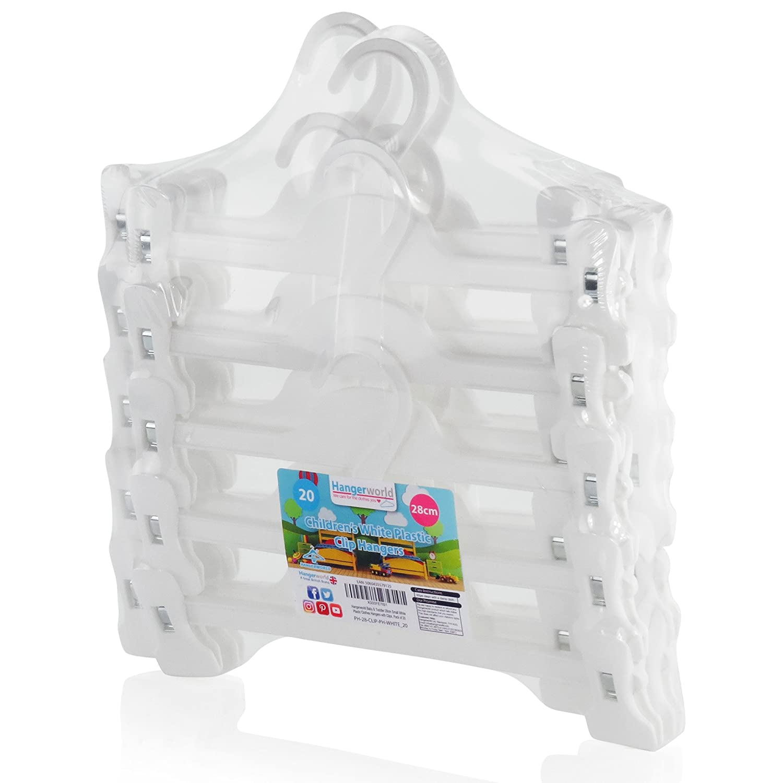 Hangerworld Lot de 20 cintres en Plastique /à Pinces pour Jupe//Pantalon Blanc 28cm