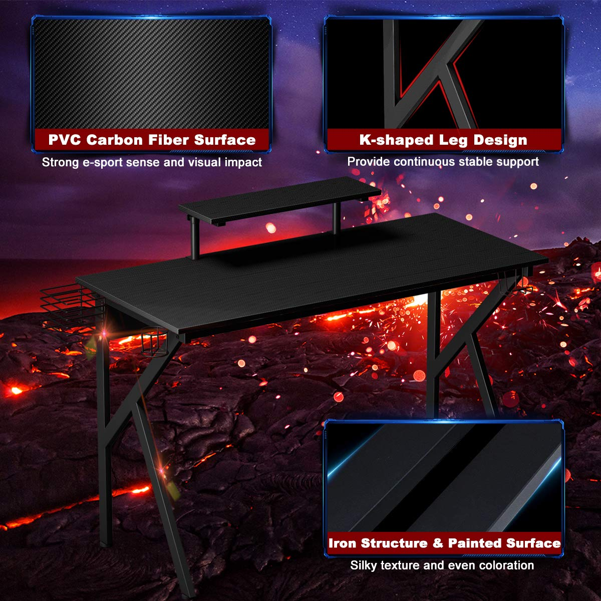 K-Shaped Sport Table Lx W x H 47.5X22X29.5 Ergonomic Racing E-Sports Gamers Computer Desk PC Laptop Table/for Pro Gamers Gaming Workstation with Cup /& Headphone Holder Tangkula Gaming Desk
