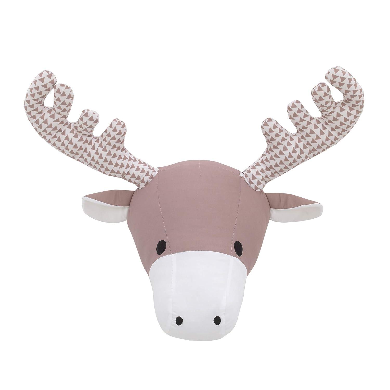 NoJo Brown & White Moose Plush Head Wall Decor, Brown, White