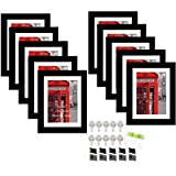 Art Street Set of 10 Individual Wall Photo Frame Black 8x10 Inches, with Free Hanging Accessories