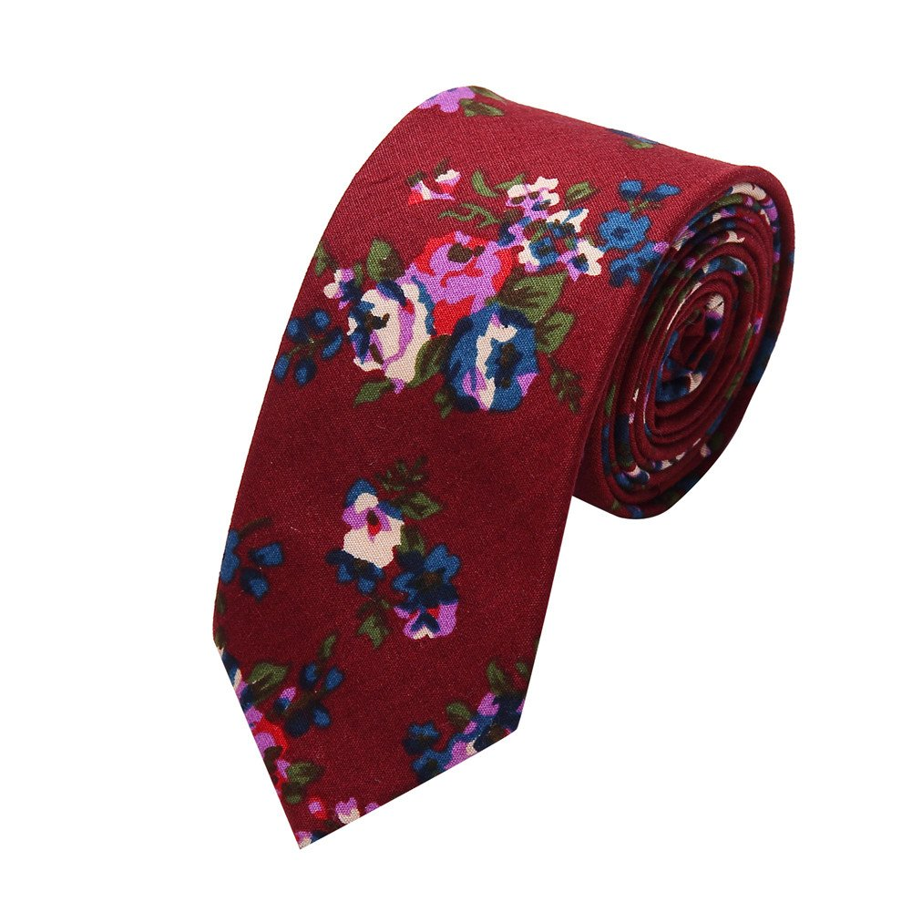 Ausky 4 Packs Cotton Floral Skinny Neckties for Men Boys in Different Flower (Floral B) by AUSKY (Image #2)