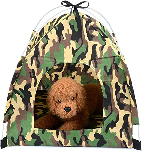 Zunea Small Pet Cat Tent Camouflage Pop Up Portable Foldable Sun Shade Wild Style Dog Home Indoor Outdoor Bed House for Beach Camping Picnic Travel