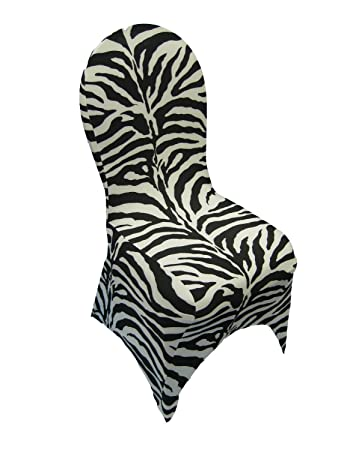 LA Linen8482 Spandex Dining Room Chair Cover Animal Print Zebra
