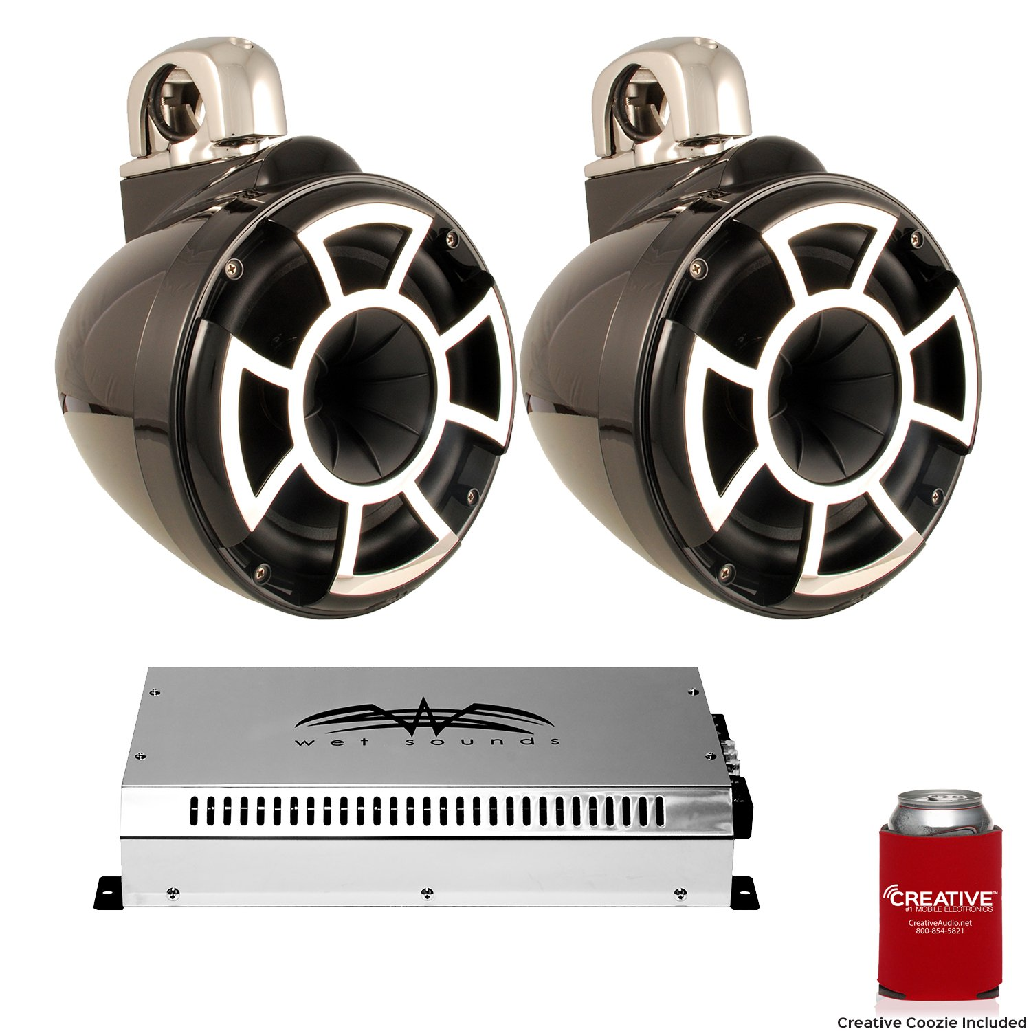 Wet Sounds 8'' Black Tower System: A Pair of REV8B-FC 8'' Tower speakers & SYN2 700 Watt Amplifier