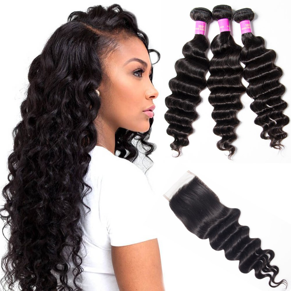 Star Show Hair Malaysian Loose Deep Wave Bundles with Closure Virgin Loose Wave Human Hair Extensions(12 14 16 with 12 Free Part Closure)