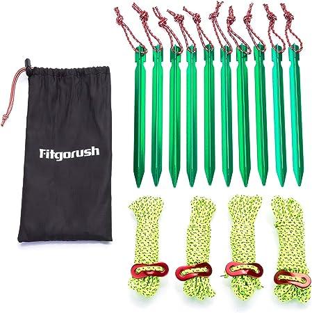 colore: nero 10 picchetti per tenda da campeggio con corda riflettente in alluminio pesca ultraleggeri per picnic alpinismo