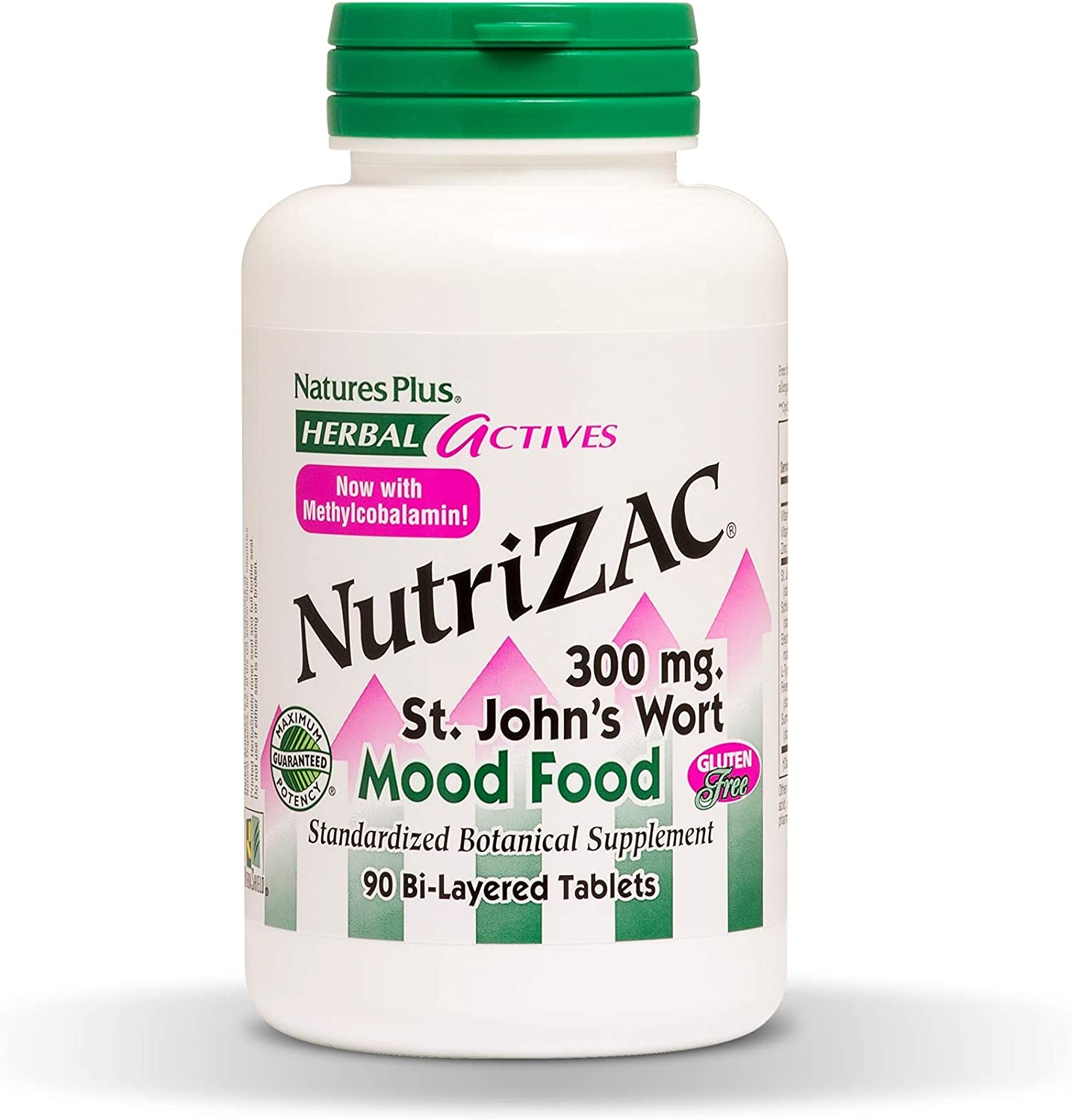 NaturesPlus Herbal Actives NutriZAC Mood Food – 300 mg St Johns Wort, 90 Vegan Bi-Layered Tablets – Maximum Potency Natural Mood Booster – Vegetarian, Gluten-Free – 90 Servings