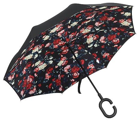 Plemo Paraguas Apertura Inversa, Paraguas de Doble Capa con Autonomía y Mango en forma de