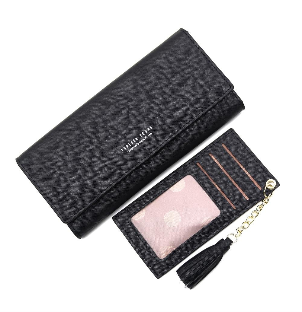 Wallets for Women, Slim Clutch Long Leather Purse Lady Checkbook Credit Card Holder with a Removable Card Slot (A-Black)