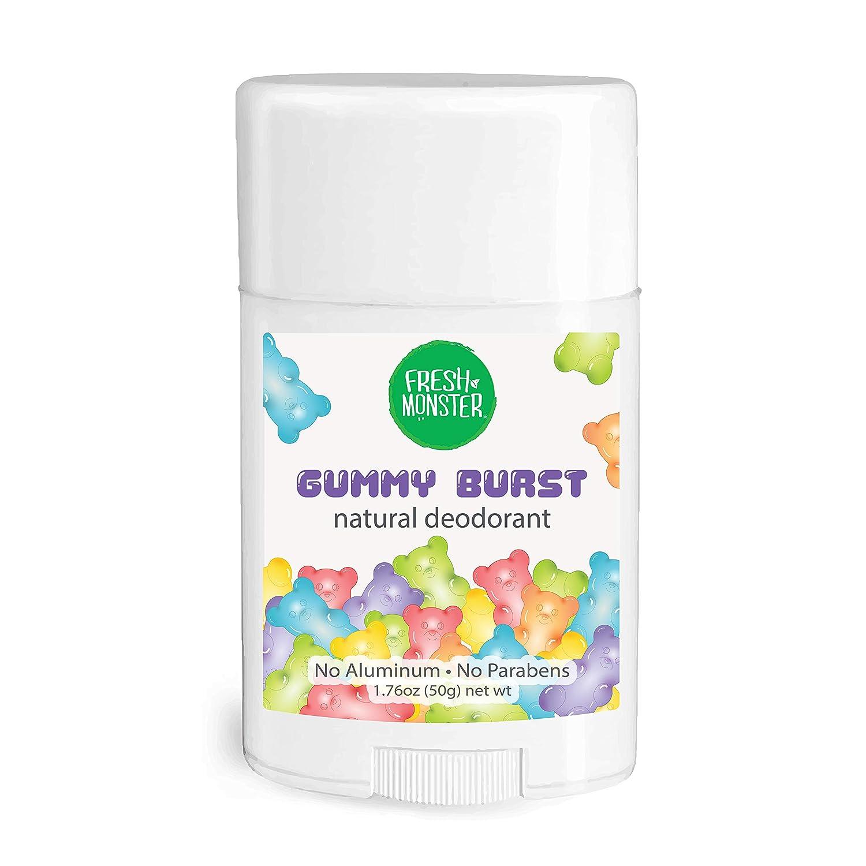 Fresh Monster Natural Deodorant for Kids and Teens   Aluminum Free, Paraben Free, Hypoallergenic   Gummy Burst Scent (1.76oz)