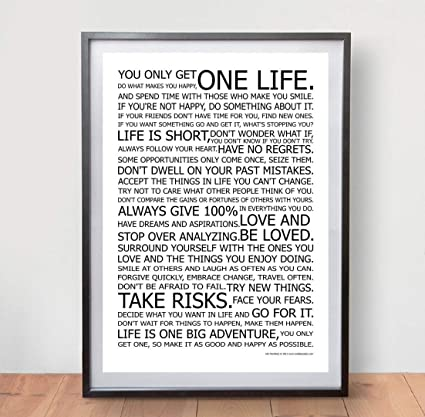 Life Manifesto Poster The World Famous Original Motivational Quote