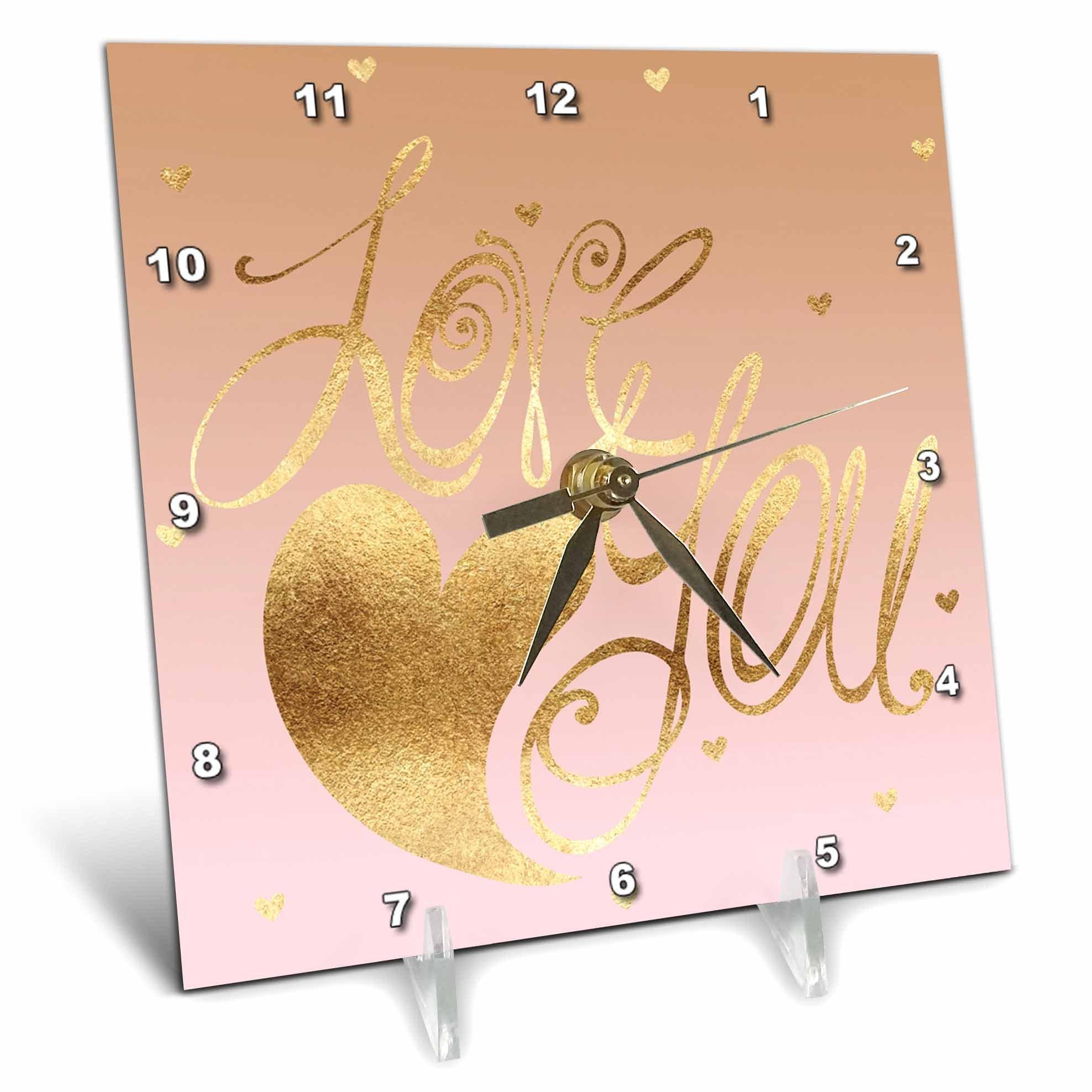 3dRose PS Inspiration - Image of Gold Pink Love Heart - 6x6 Desk Clock (dc_280738_1)