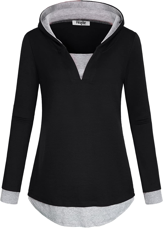 Hibelle Women's Casual Color Block 2 in 1 Long Sleeve Pullover Hoodies