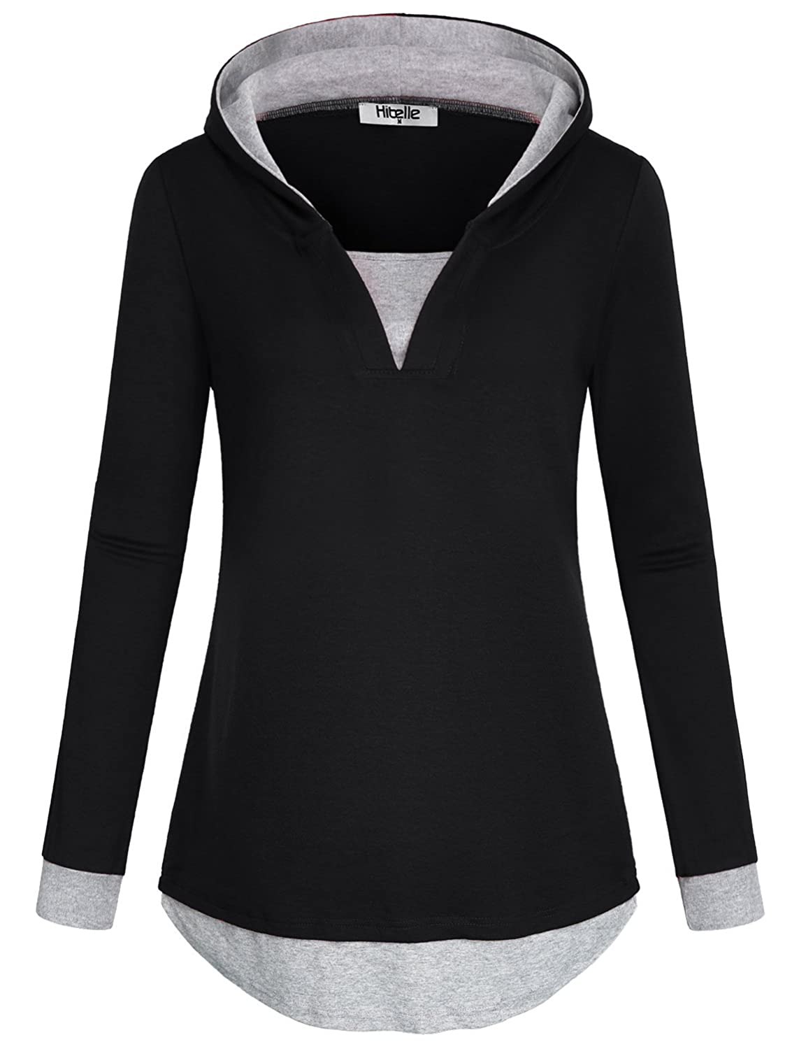 7ea48fe14bb5eb Hibelle Women s Casual Color Block 2 in 1 Long Sleeve Pullover Hoodies at  Amazon Women s Clothing store
