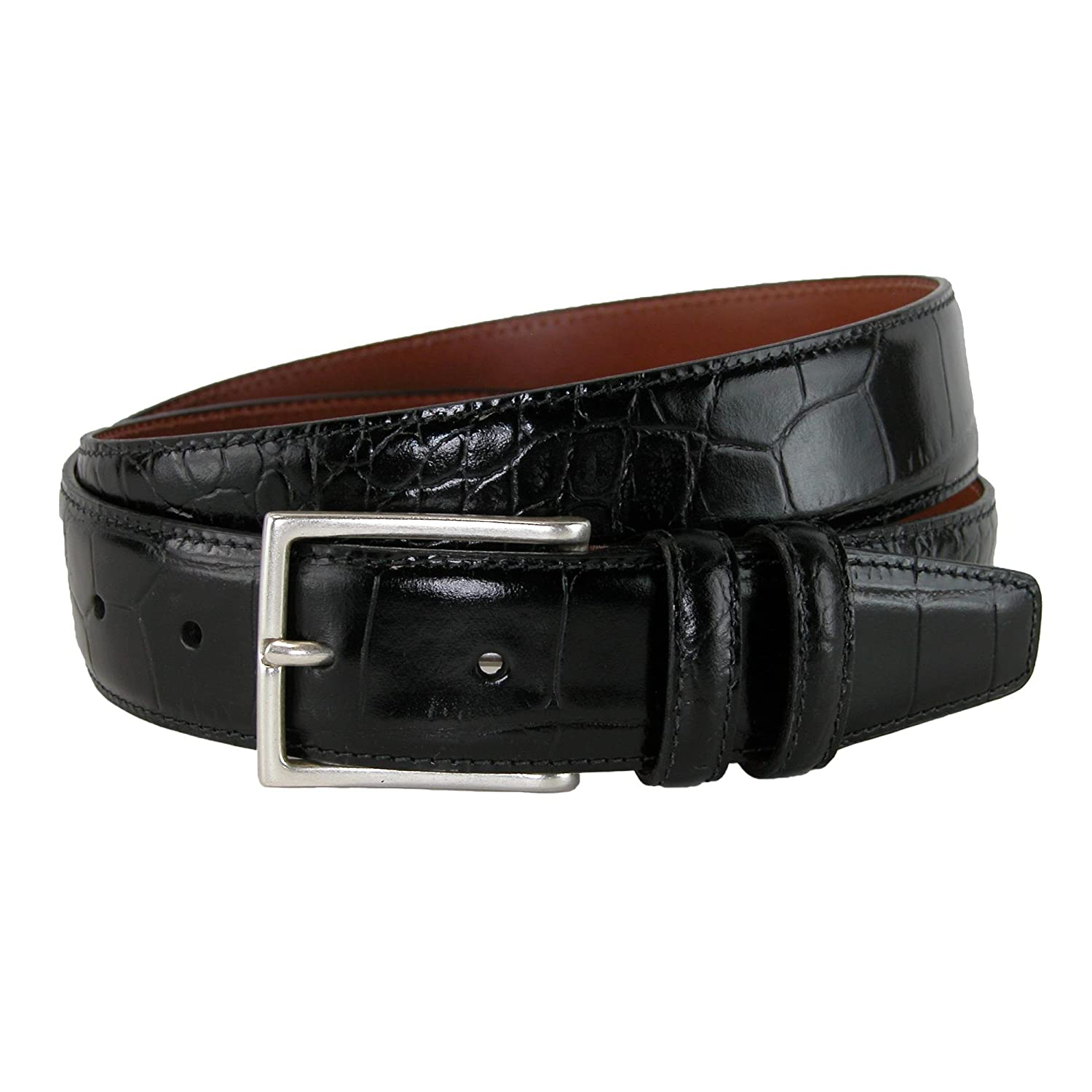 14ac6a6f6ff5 CrookhornDavis Dress Belt for Men, Tanned Leather Accessories (Crocodile)  at Amazon Men's Clothing store: