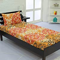 Valito - Microfiber (90 GSM), Single Bedsheet, (235 cm x 140 cm) with Matching Pillow Cover (42 cm x 69 cm) - Floral Pattern, Yellow
