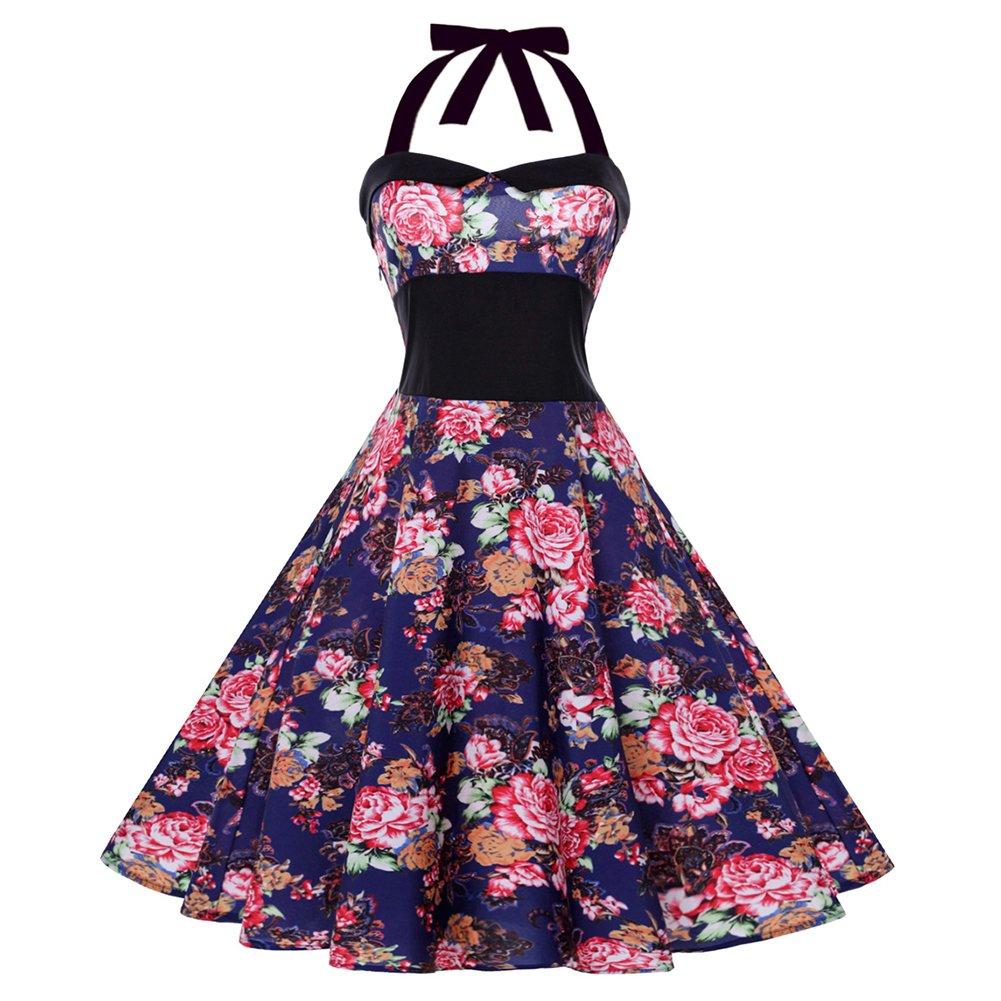iShine Neckholder Kleider Damen Polka dots Kleider Rockabilly ...
