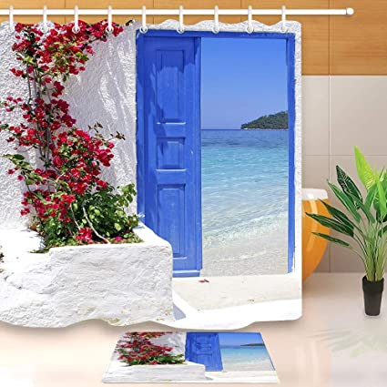 12 Haken ZZ7379SL Griechenland Traditionelle griechische T/ür 3D Digitaldruck Bad Vorhang Set