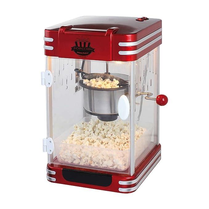 XXL Máquina de palomitas popcorn maker palomitas automática olla de acero (Cuchara dosificadora, pies antideslizantes, Cine, Retro Rojo Negro): Amazon.es: ...