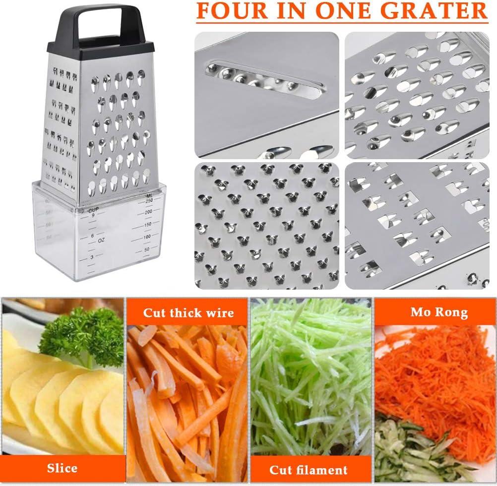 Rallador Cuadrado de Acero Inoxidable para Verduras OFNMY Ralladores de Cocina Queso Zanahorias Frutas