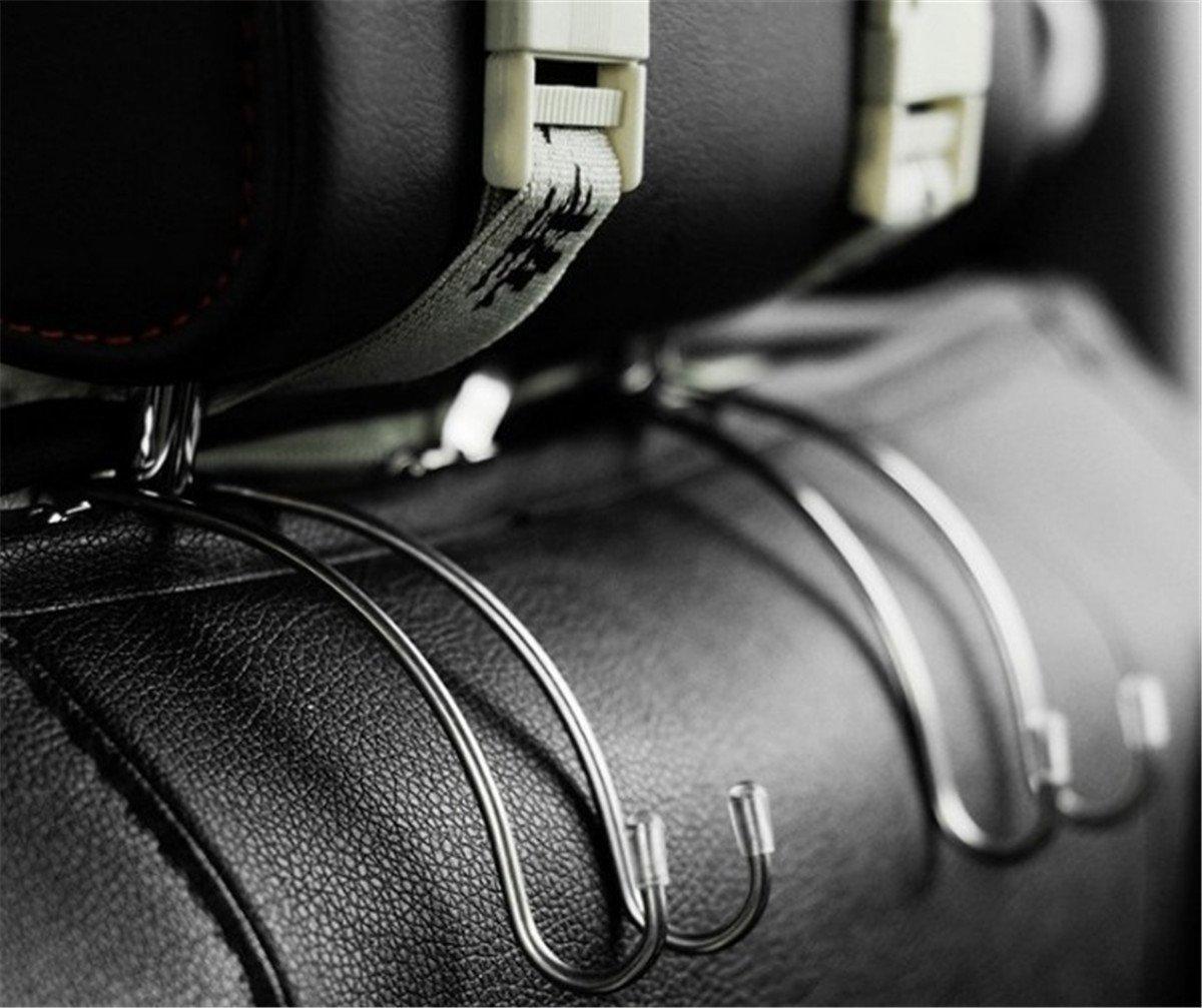 BININBOX 2pcs Set Car Mini Hanger Seat Headrest Hooks Metal Multi-Purpose Travel Vehicle Bag Grocery Auto Organizer 2 Sets