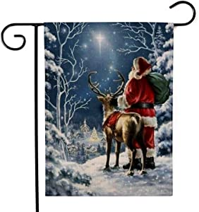 YINGXIANG Decorative Merry Christmas Garden Flag Winter Vintage Yard Rustic Christmas Decor Home Elk Outdoor Lawn Yard Decor Flags 12.5 x 18.5 Inches
