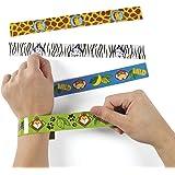 Safari Schnapp Armbänder Klatscharmband 12 Stück Mitgebsel Dschungel Party Palandi®