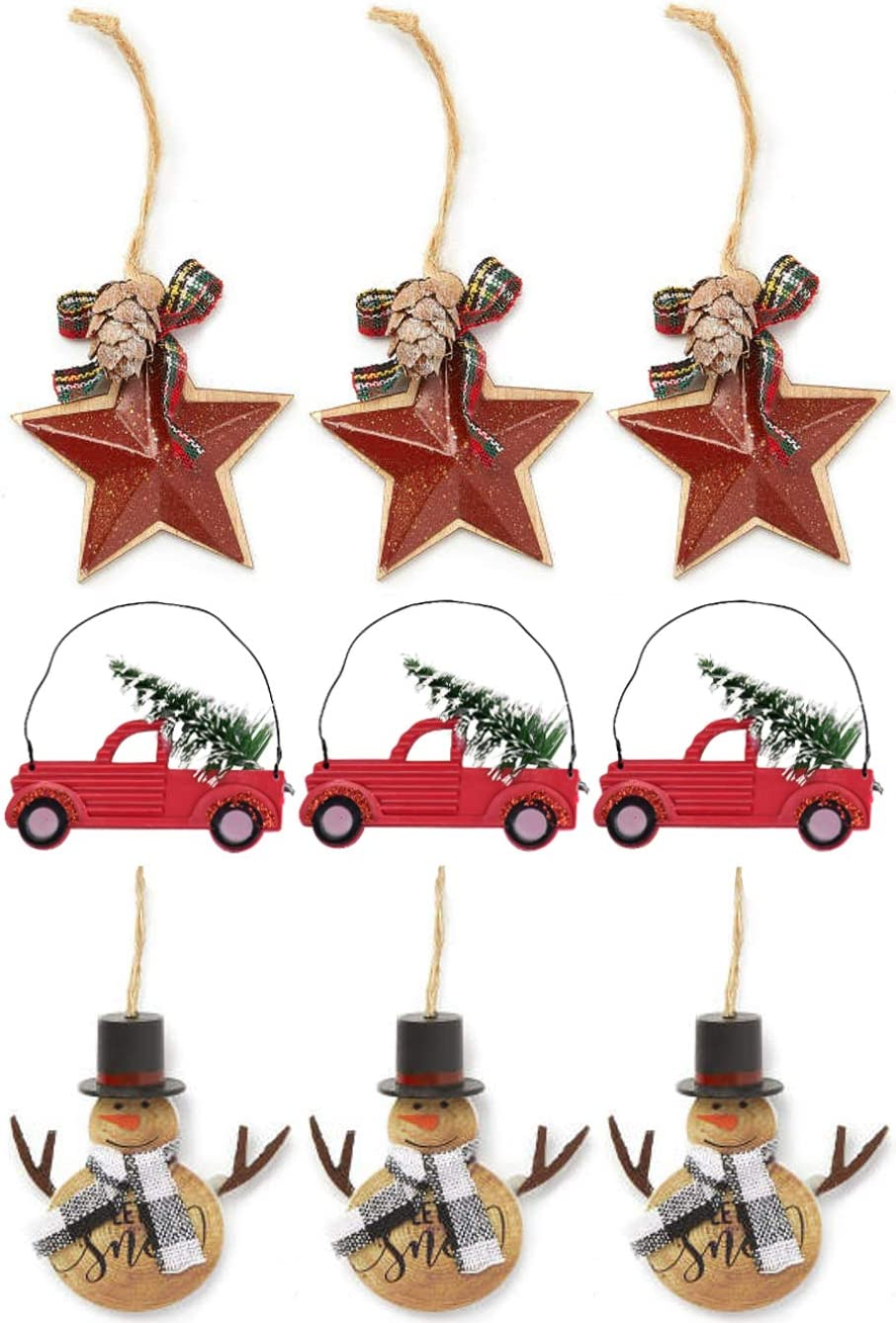 Charmed By Dragons Classic Rustic Farmhouse Decor Holiday Tree Ornaments Metal Stars Old Red Trucks and Snowmen 9 Piece Set in Gift Box (Rustic Set)